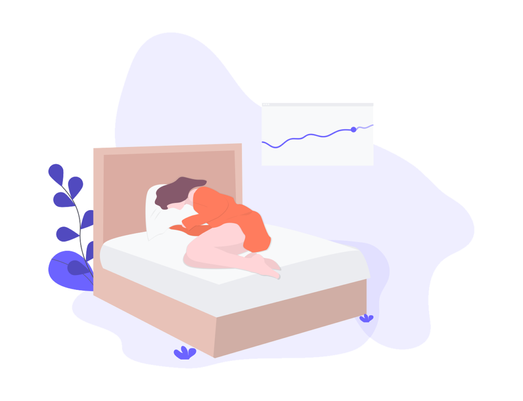 Cartoon sleeping in bed